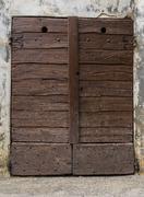 Brown Door in Borgo Villa il Poggio Stock Photos