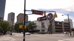 Street corner in Atlanta Downtown at Centennial Park Stock Footage