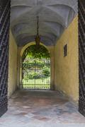 Door of Palazzo Incisa Beccaria in Borgo Villa il Poggio Stock Photos