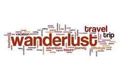 Wanderlust word cloud concept Stock Illustration