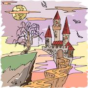 Vector seamless pattern for Halloween. Dracula s castle, bat and other items on - stock illustration