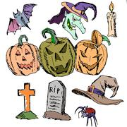 Vector seamless pattern for Halloween. Pumpkin, ghost, spiders, candles, cap Stock Illustration