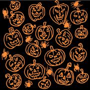 Vector seamless pattern for Halloween. Pumpkin, spiders and other items on - stock illustration