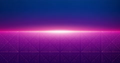 Infinite space looped background. Abstract sunrise over cyber sea of stars. Stock Footage