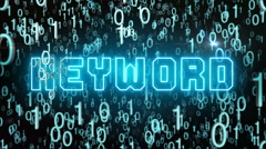 Bluish Keyword concept with digital code Stock Footage