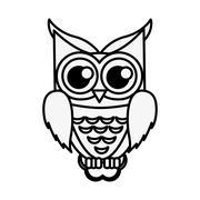owl cartoon icon - stock illustration