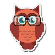 owl cartoon wearing glasses icon - stock illustration