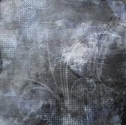 swirls on dark gray grunge - stock illustration