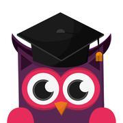 Owl cartoon with graduation cap icon Stock Illustration
