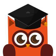 owl cartoon with graduation cap icon - stock illustration
