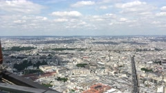 Paris Panoramic View From Top Of Montparnasse Tower, Pan 4k Stock Footage