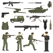 Military Army Khaki Color  Icons Collecton Stock Illustration