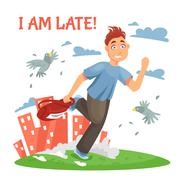 Late Teenager Running To School Stock Illustration
