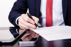 Business conflict, on  meeting manager and employee destroy draft of document Stock Photos