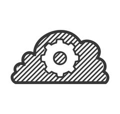 cloud computing gear storage social media icon. Vector graphic - stock illustration