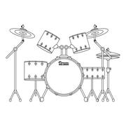 drums set icon - stock illustration
