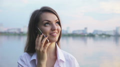 The girl positively said by telephone Stock Footage