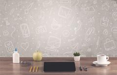 Design office desk with drawings background Stock Photos
