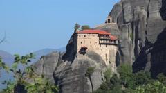 Monastery of St. Nicholas Anapausas. Meteora, Greece Stock Footage