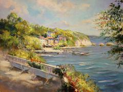 Colorful seascape oil painting vintage styled Stock Illustration