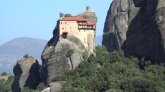Meteora valley with the Monastery of St. Nicholas Anapausas. Greece Stock Footage