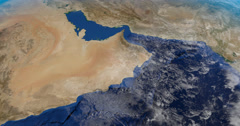 Saudi Arabian peninsula in earth planet in rotation from a satellite view Stock Footage