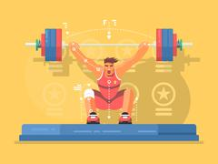 Weightlifting competitions flat design - stock illustration
