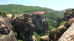 Monastery of Varlaam on the top of Meteora mountain formations. Stock Footage