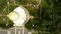 Aerial view. The architecture of Naval cathedral of Saint Nicholas in Kronstadt. Stock Footage
