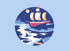 Sailing in the sea - stock illustration