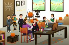 Kids Lining Up Doing Face Painting During Halloween Stock Illustration