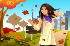 Autumn Girl Walking in the Park Stock Illustration