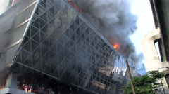 Central Department Store Burns Bomb Terror Attack Terrorist Blast Building 9718 - stock footage