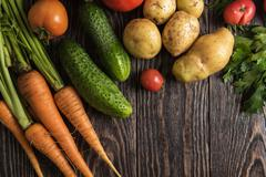 Freshly grown raw vegetables Stock Photos