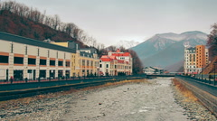 A main street of the small mountain town in spring Stock Footage