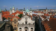 Panoramic view of Prague roofs, Czech Republic - stock footage