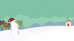 Nice illustration Winter Snowscape Loop, cute cartoon snowman in the snow Stock Footage