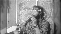 Hippie Man Smokes Weed Dope Marijuana Grass 1960s Vintage Film Home Movie 9746 Stock Footage