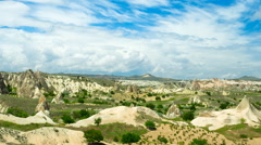 Beautiful landscape of Cappadocia, Turkey. Timelapse video with zooming in Stock Footage