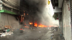 BURNING City Street Building Looted Bombed War Riot Terror Attack Disaster 9702 Stock Footage