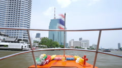 Timelpase video of traveling by riverboat through the Chao Phraya River Stock Footage