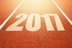 2017 Happy New Year, athletics sport running track concept Stock Photos