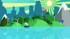 Green energy concept Background loop, Colorful cartoon green ecology landscape Stock Footage
