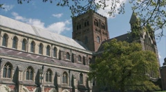 St Albans Cathedral on a sunny day in the UK Stock Footage