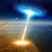 Aliens spaceship hits big town near sea, aliens invasion, missiles attack UFO Stock Illustration
