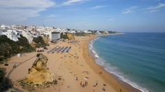 Albufeira beach seen from hilltop Stock Footage