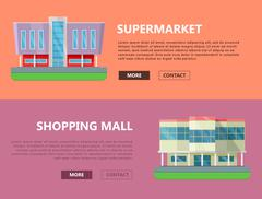 Shopping Mall Web Templates in Flat Design Piirros