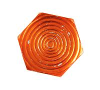 Hexagon plate with orange metallic glaze Stock Photos