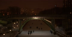Skaters on the Rideau Canal at Night Stock Footage