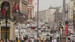 MOSCOW, RUSSIA - JULE 22, 2016: view of the Tverskaya Street Stock Footage